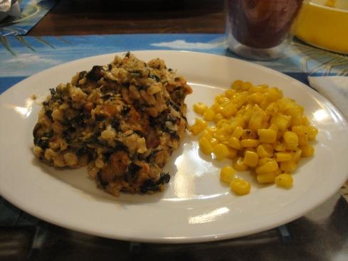 spinach-rice casserole, corn