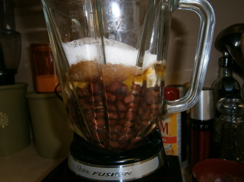 Put beans in blender. Add eggs, vanilla, sugar, and butter.