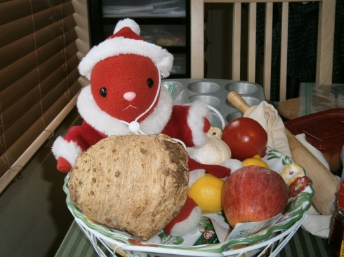 Rabbit-sensei hanging out in the produce basket, with the celery root in her lap. It was almost as big as her and definitely weighed more.