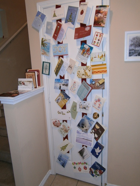 My Christmas card door in the foyer!