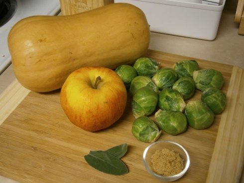 Butternut squash, Brussels sprouts, an apple, brown sugar, and some sage. That's all this recipe asks for! (Plus, salt and pepper, but that's a given.)