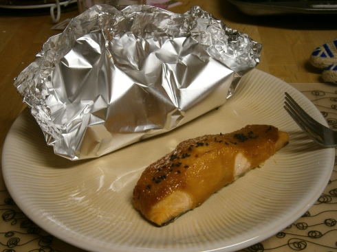 I served the foil packets with miso-glazed salmon, which was wonderfully awesome.