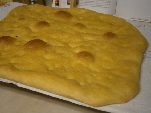 This is the one I did not overbake, and it still came out kinda flat and crispy, not puffy and airy the way focaccia should be.