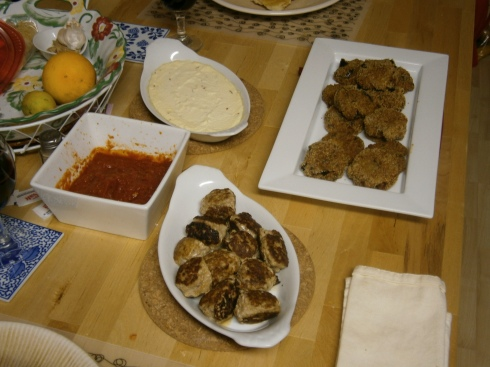 Baked ricotta, eggplant cakes, polpettini, and some homemade marinara.