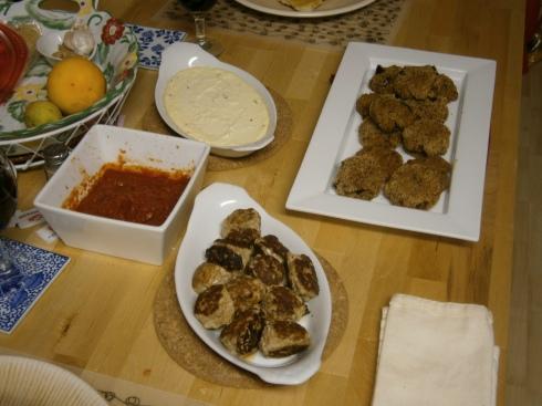 Baked ricotta, eggplant cakes, polpettini, and some homemade marinara.