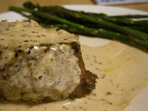 Filet Mignon Diable with roasted asparagus.