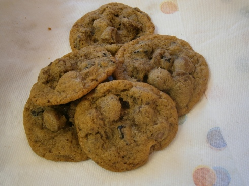 Mocha Chocolate Chip Cookies with Dried Cherries