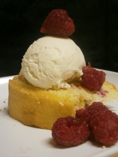 Ispahan Loaf Cake with French Vanilla Ice Cream and Raspberries