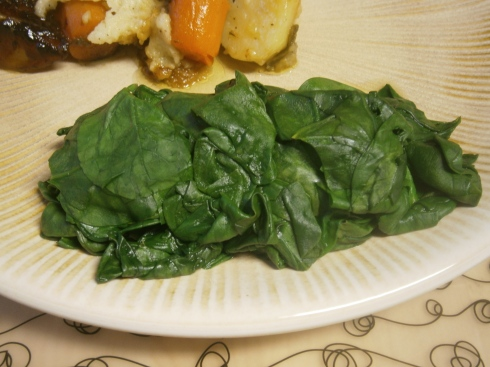 Mmm, steamed spinach smells delicious.
