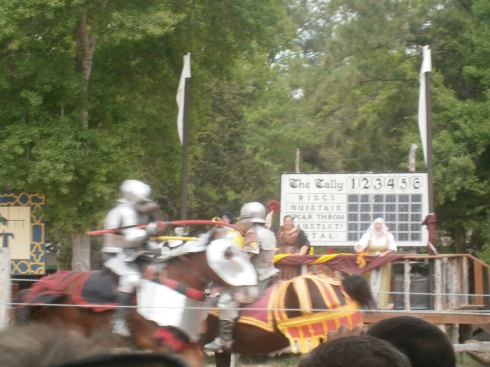 The second pass, in which the opposing knight broke his lance upon Sir William and moved himself into the point lead.