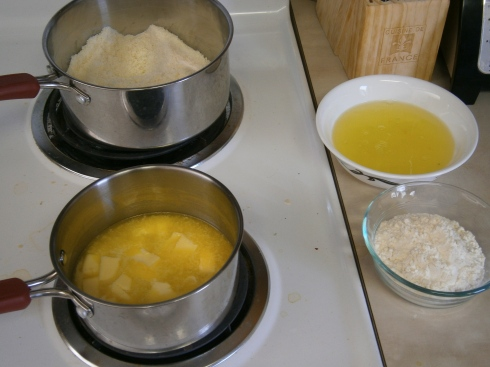 Almond flour and sugar, egg whites, all-purpose flour, and plenty of butter.