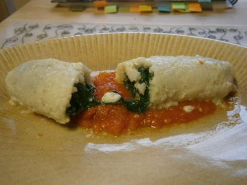 Cod & Spinach Roulades with Tomato-Lemon Sauce.