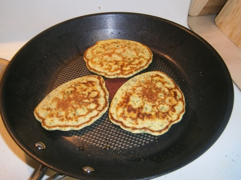 These cooked very quickly, so we had a nice collection of green pancakes in no time at all.