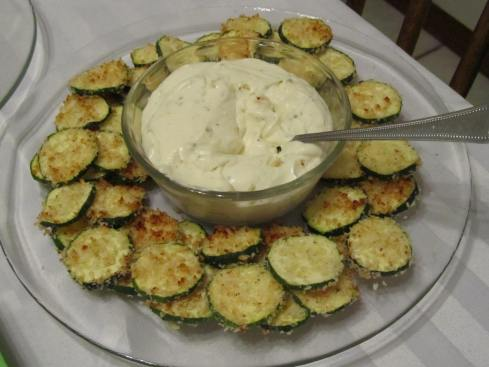 Appetizer: Oven-Fried Zucchini with Ranch Dip