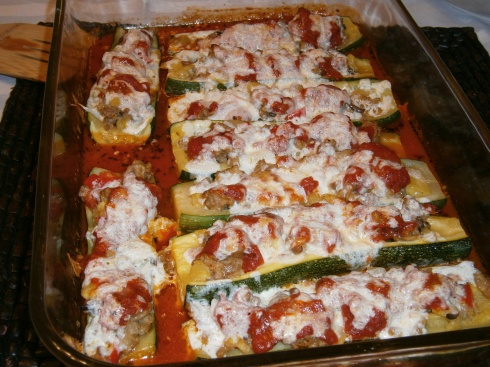 Main Course: Sausage-Stuffed Zucchini with Homemade Marinara