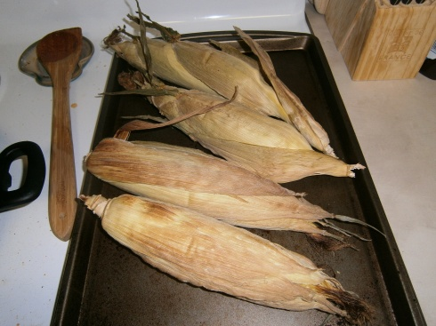 After the 40 minutes are up, remove corn from the oven and allow to cool until you can handle it without burning yourself.