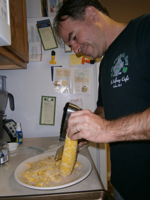 You can eat the corn right off the cob, or you can have your husband remove the kernels for you. We wanted our corn for tacos, so off those kernels went!