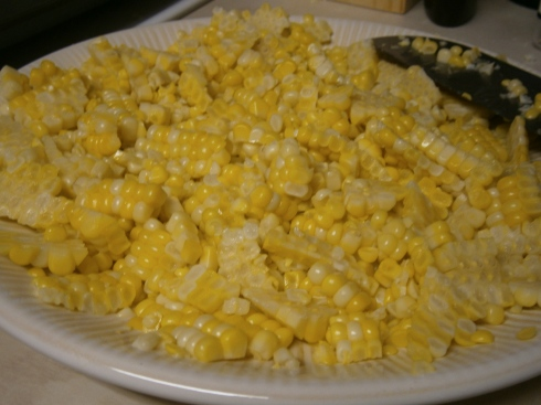 A plate full of pretty, delicious corn kernels. If we hadn't been eating ours with tacos, I would have put it all in a bowl, added some butter, salt, and pepper and called it a side dish.