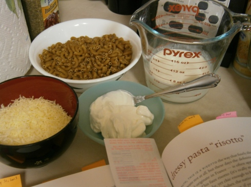 "Ingredients for the ""risotto:"" cheese, macaroni, cream, and sour cream (a sub for the mascarpone). The broth was already on the stove."