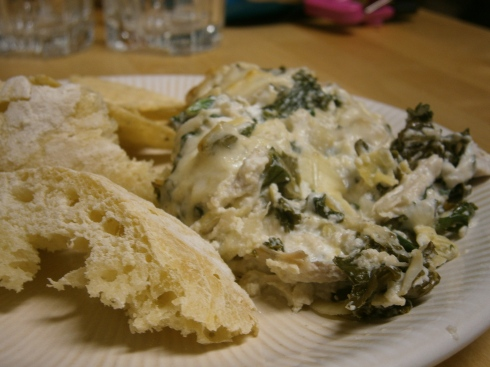 Kale and Artichoke Dip with turkey.