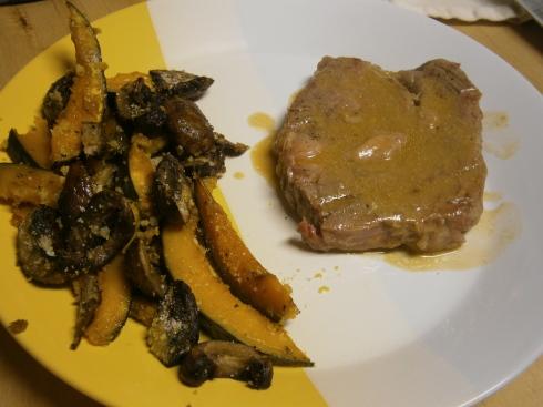Orange-Miso Steak with Roasted Kabocha and Mushrooms.