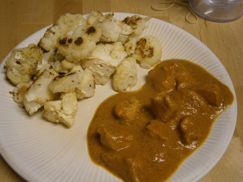 Crockpot Butter Chicken with roasted cauliflower.